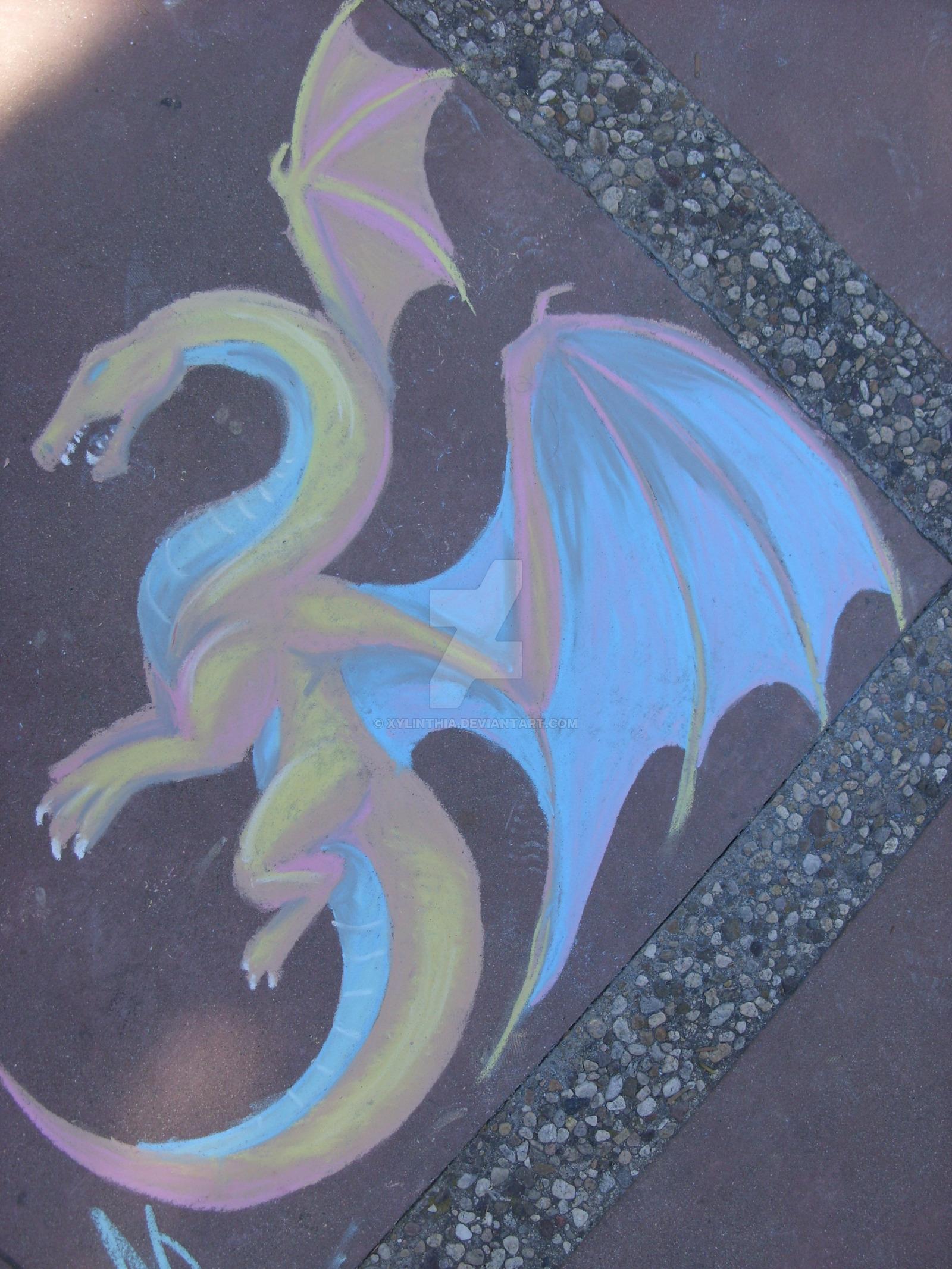 1600x2133 Dragon Chalk Drawing By Xylinthia