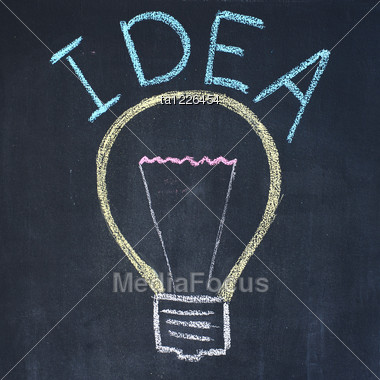 380x380 Electric Bulb And Word Idea Chalk Drawing