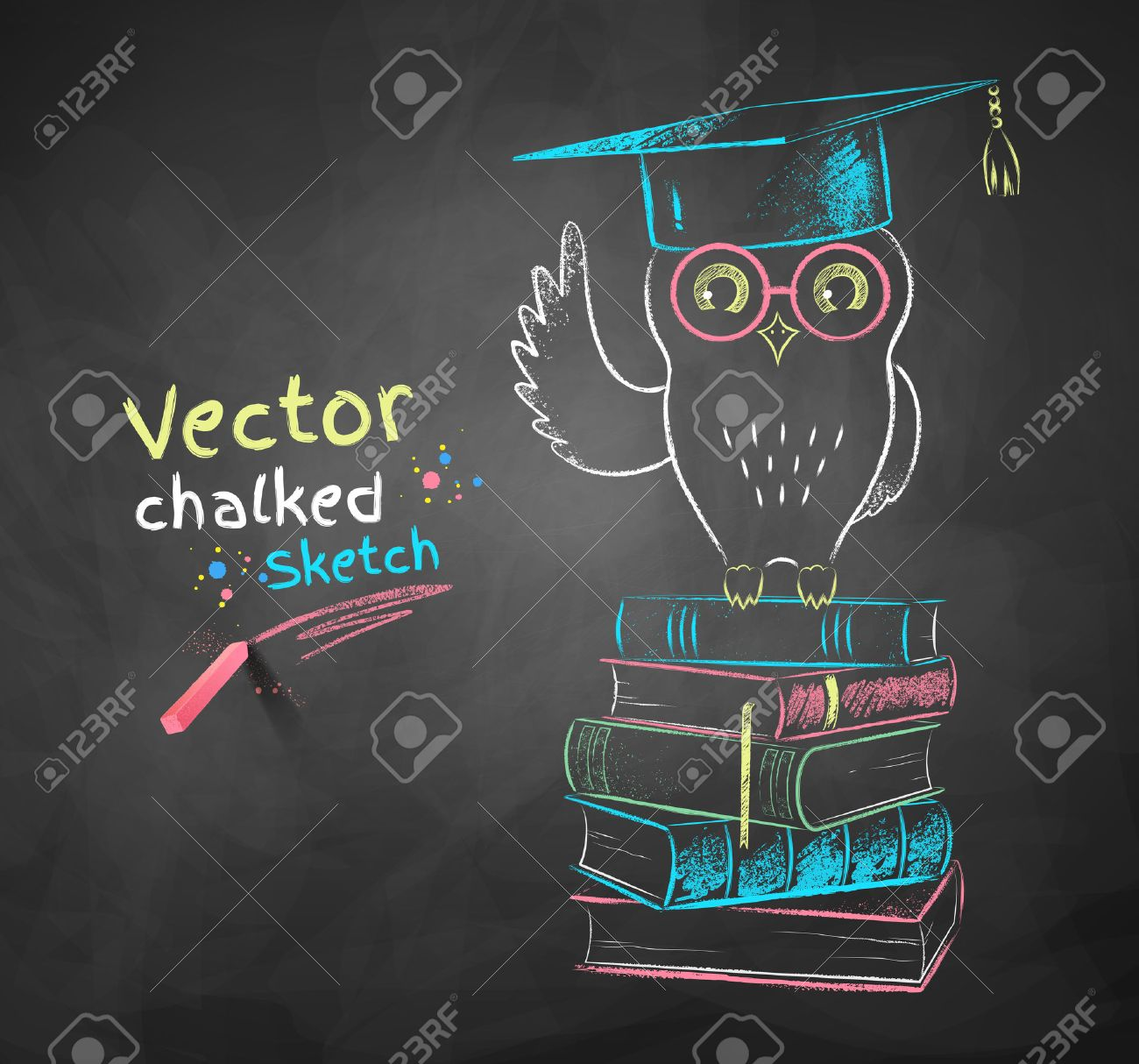 1300x1214 Vector Color Chalk Drawing Of Owl Sitting On Books. Royalty Free