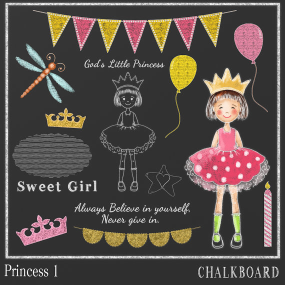 570x570 Chalkboard Clipart Princess 1, Chalk Drawing, Princess Clipart