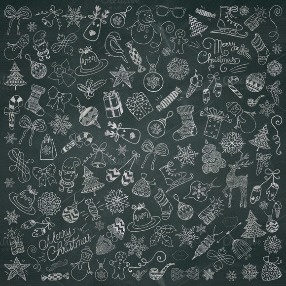 580x580 Christmas Chalk Doodle Icons. Png Doodles And Icons