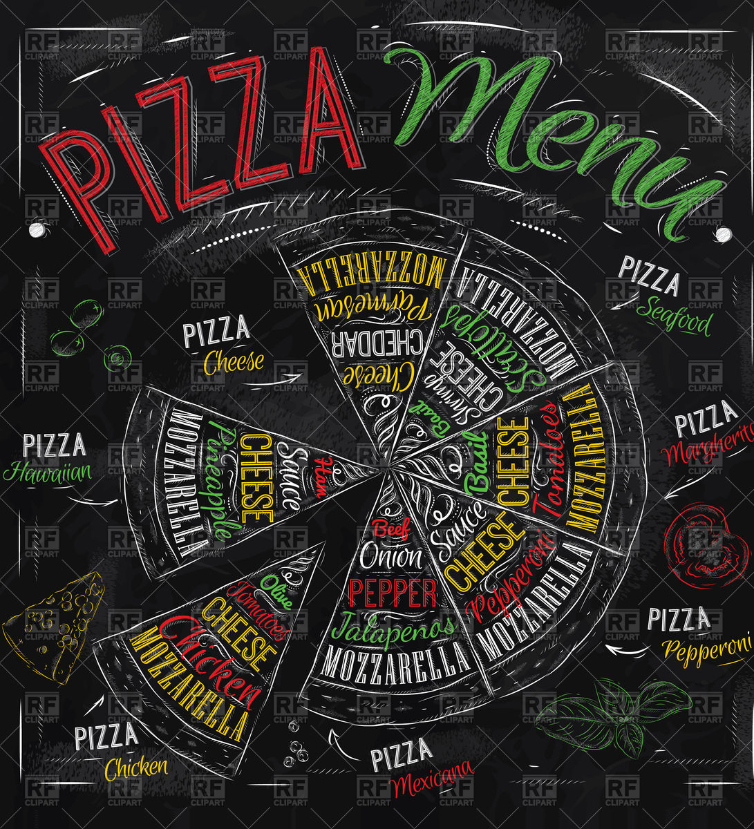 1091x1200 Pizza Menu Poster Hawaiian, Cheese, Chicken, Pepperoni