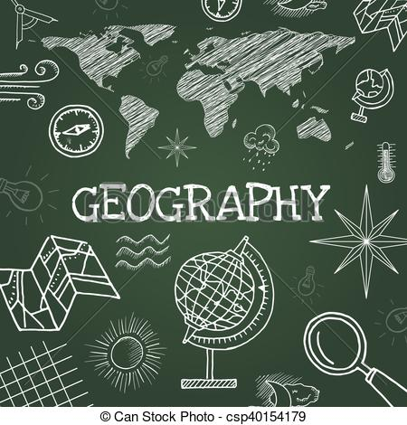 450x470 Vector Chalk Draw Geography Elements On Green Background