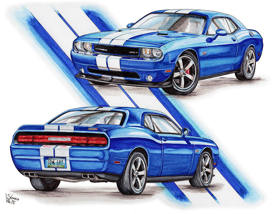 900x707 2011 Dodge Challenger Srt Drawing By Shannon Watts