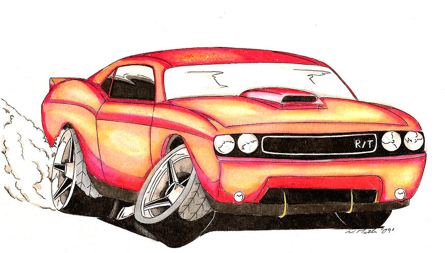 900x512 Challenger Car Toon Drawing By Nathan Miller