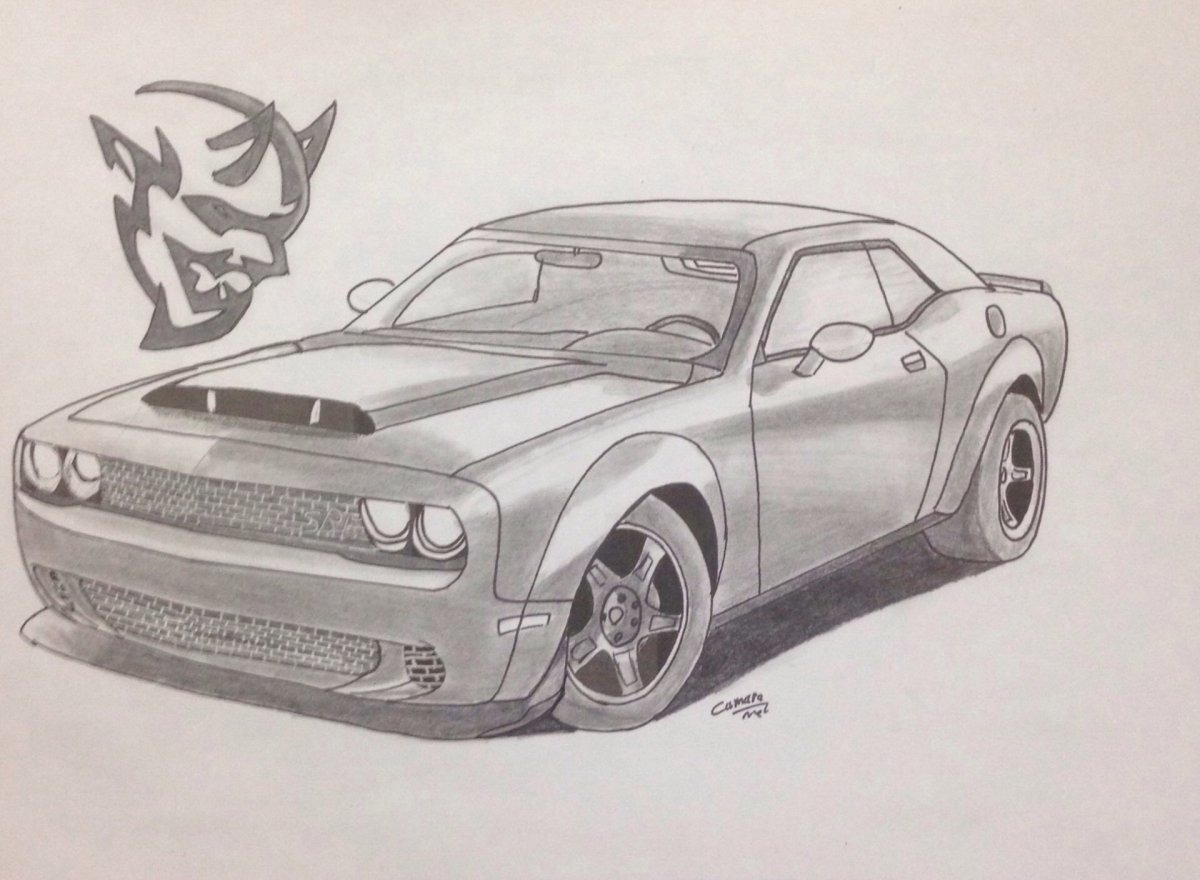 1200x880 Dodge Challenger Drawing Dodge Challenger Demon