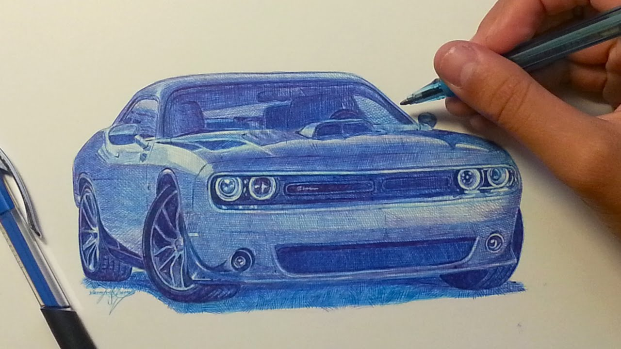 1280x720 Dodge Challenger Drawing With Ballpoint Pen