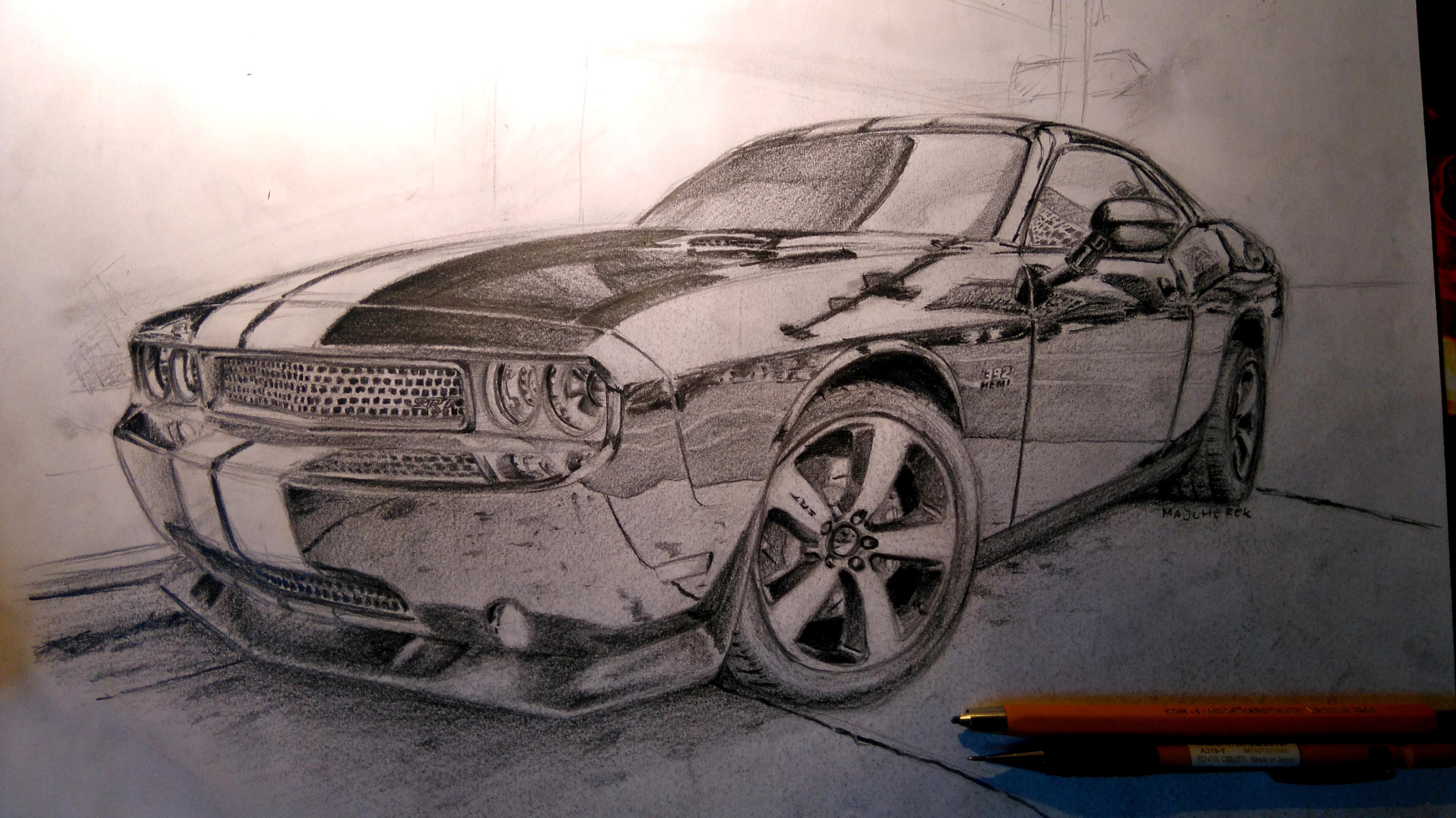 3920x2204 Dodge Challenger Srt8 Pencil Drawing