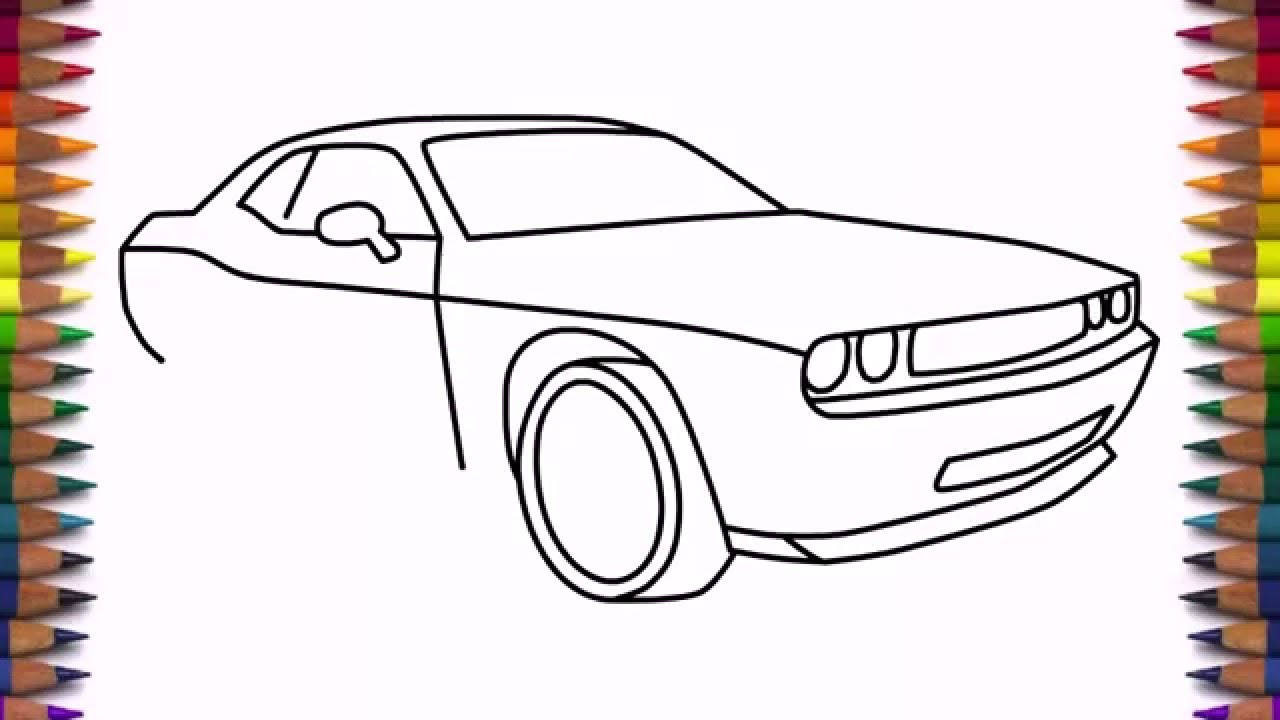1280x720 How To Draw Dodge Challenger Rt 2011 Car Step By Step Easy Drawing