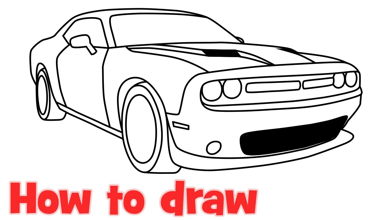 1280x720 How To Draw A Car Dodge Challenger Rt Scat Pack 2016 Step By Step