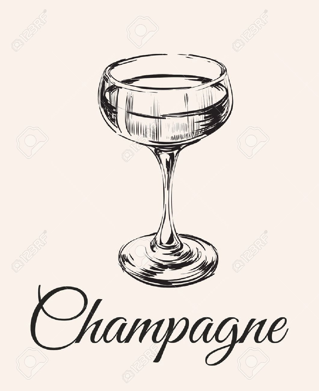 1061x1300 Champagne Glass Hand Drawing Vector Illustration Alcoholic