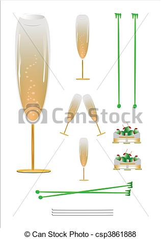 316x470 Champagne Glasses On Coasters. Glasses With Bubbles And Dish