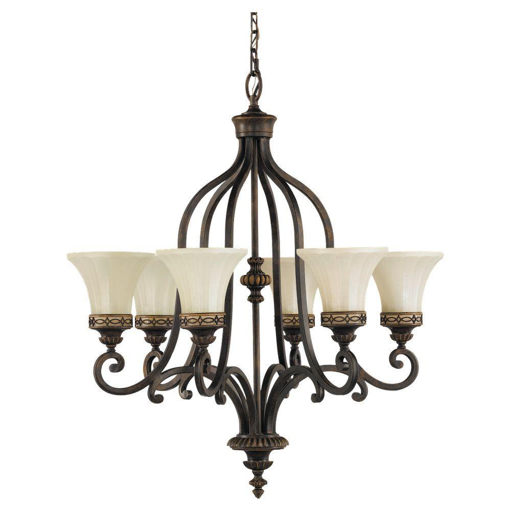 1000x1000 Feiss Drawing Room 6 Light Walnut Chandelier With Glass Shade