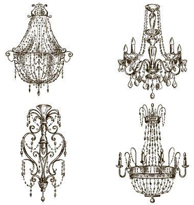 380x400 Set Of Four Chandelier Drawings Vector On Vectorstock Psa