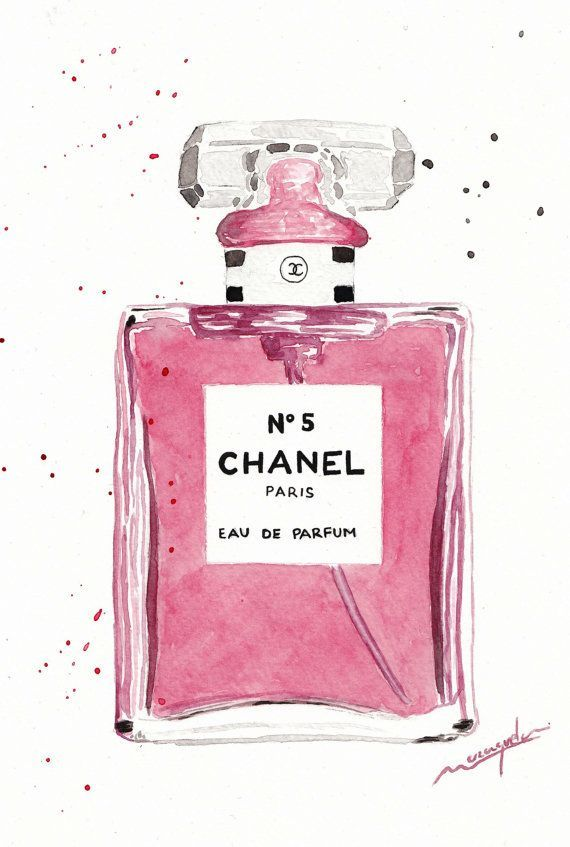 570x847 Chanel 5 Parfum Bottle Watercolor Pink.chanel N.5 By Maraquela