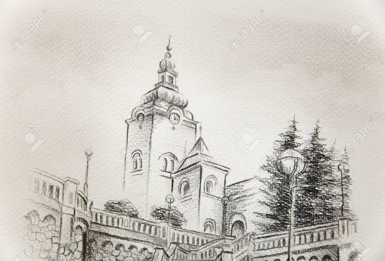 1300x883 Church Dominant In The Old Town, Pencil Drawing On Paper. Stock