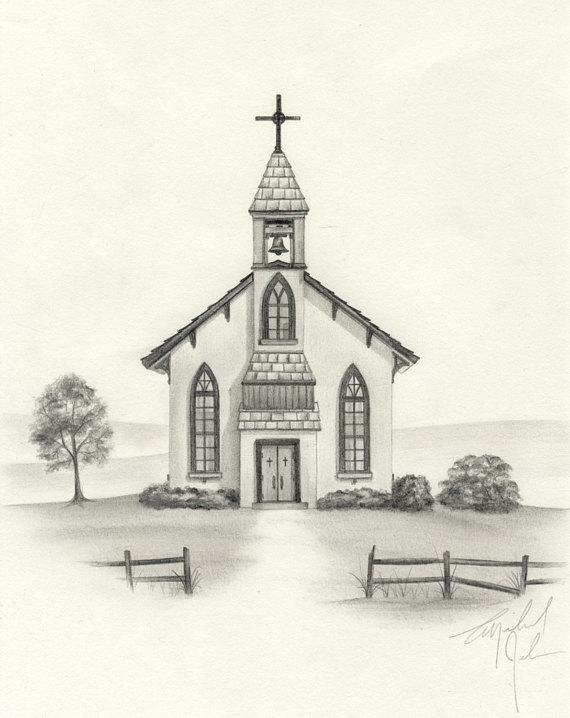 570x718 Country Church Pencil Drawing