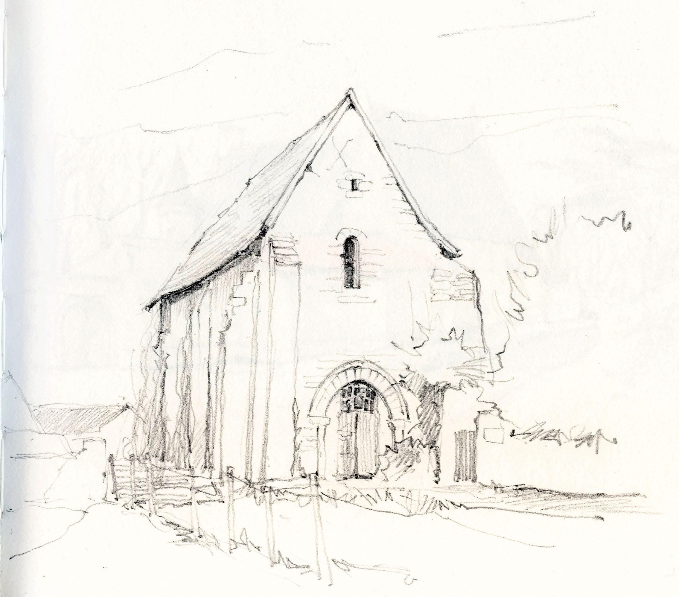 2270x1995 Wallpaper Drawing, Illustration, Ruin, Artwork, France, Chapel