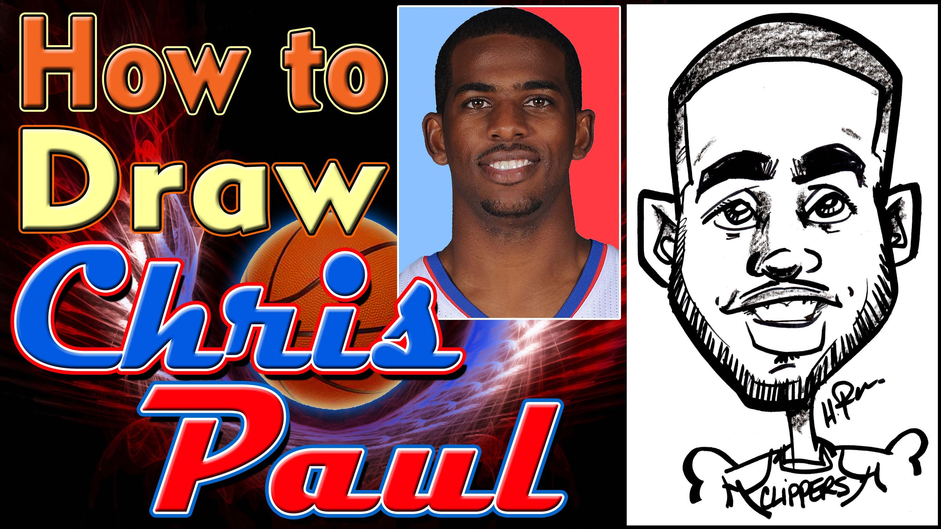 3000x1688 How To Draw A Quick Caricature Chris Paul