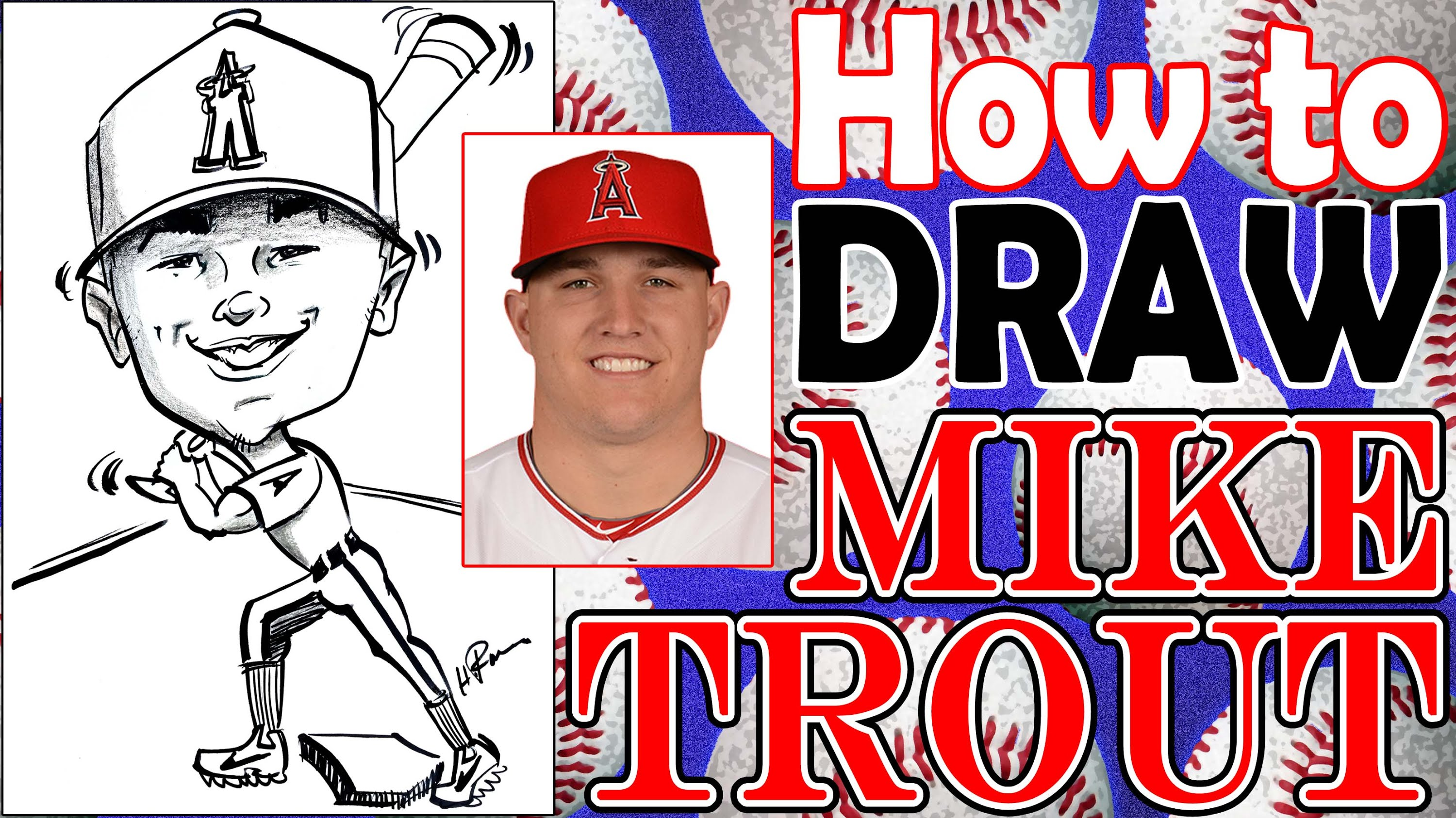 3000x1687 How To Draw A Quick Caricature Mike Trout With Full Baseball Body