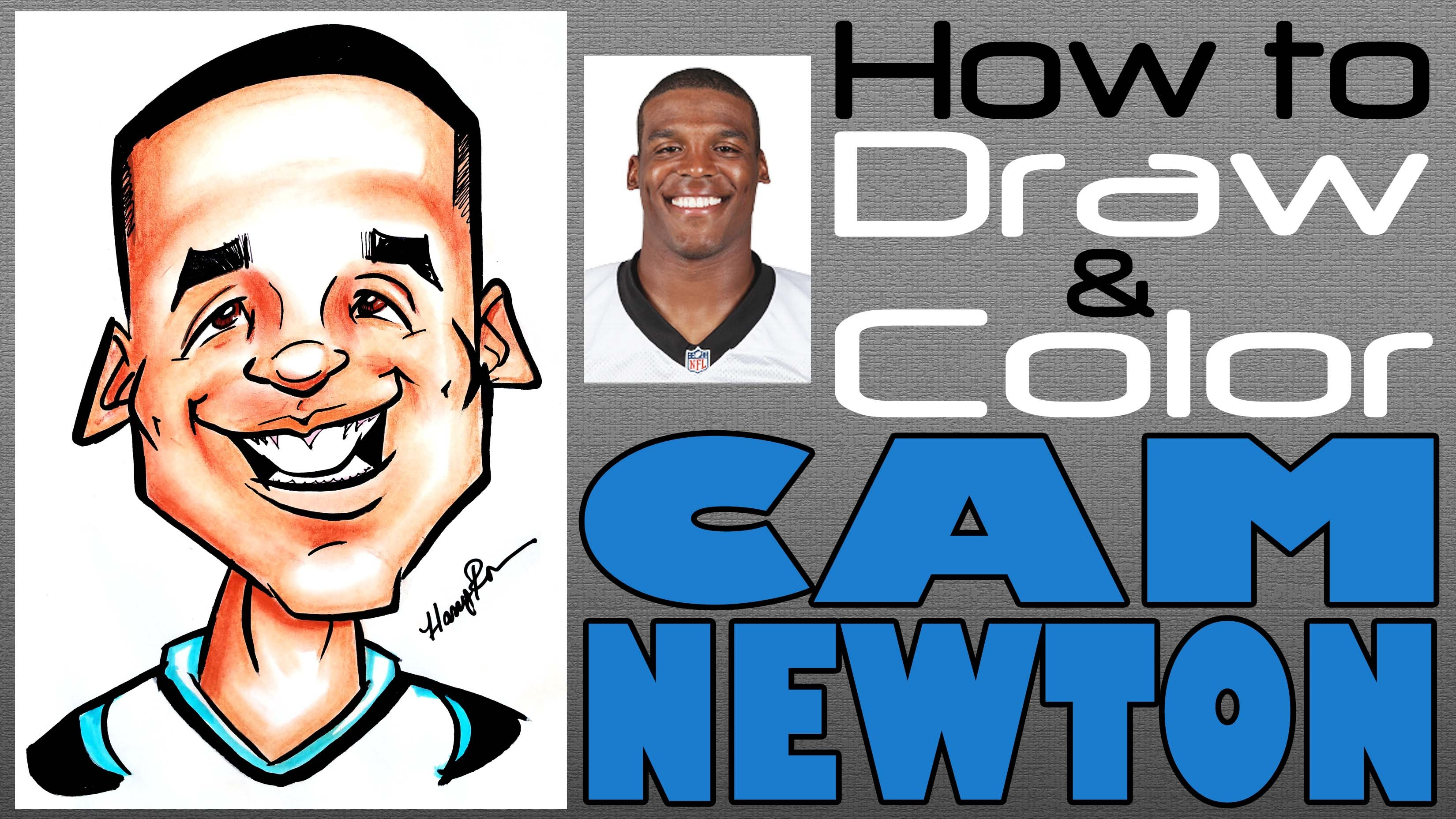 3300x1856 How To Draw And Color A Quick Caricature Cam Newton