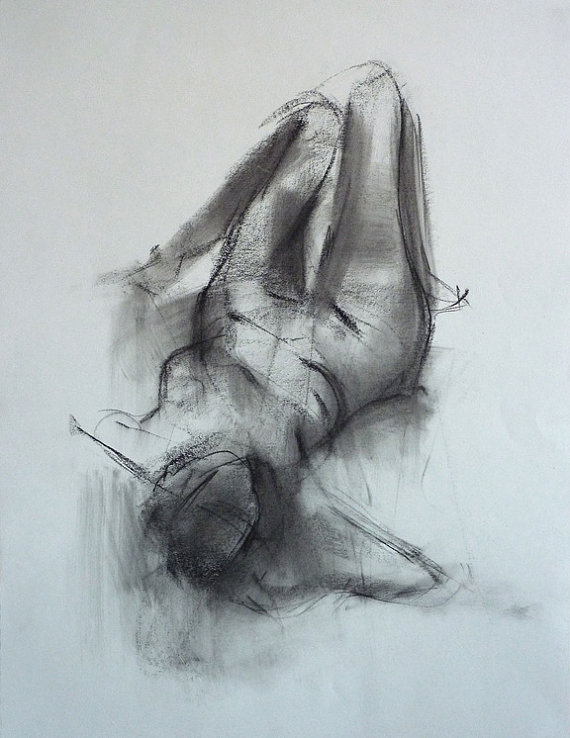 570x738 Female Figure, Gesture Drawing, Charcoal On Paper, 24 X 18