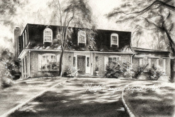 570x381 Custom House Drawing 8x10 Charcoal Drawing Landscape