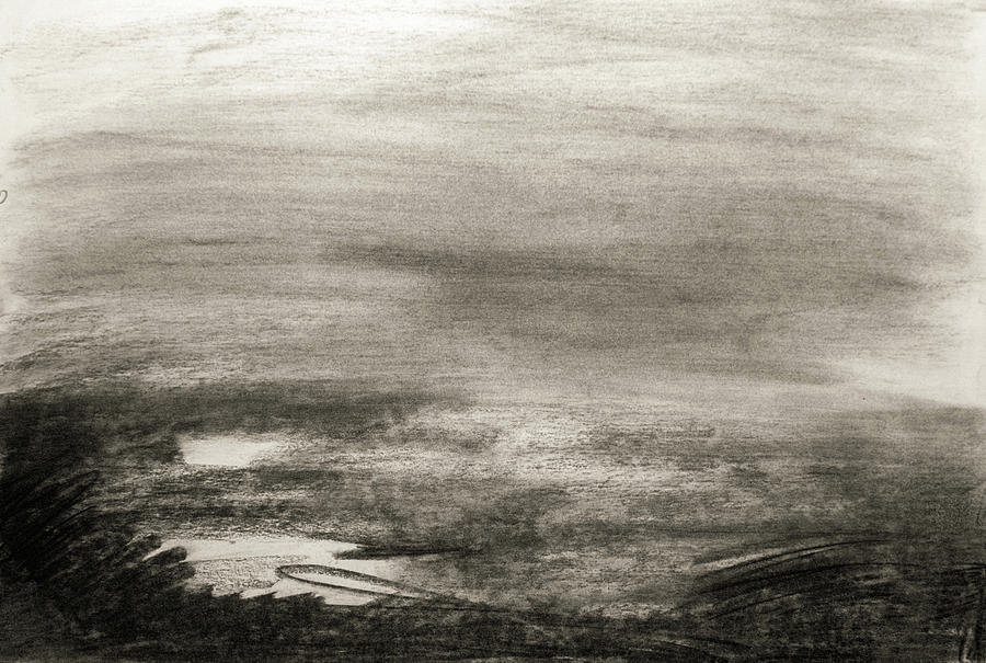 900x605 Charcoal Landscape Drawing Drawing By Janet Rich