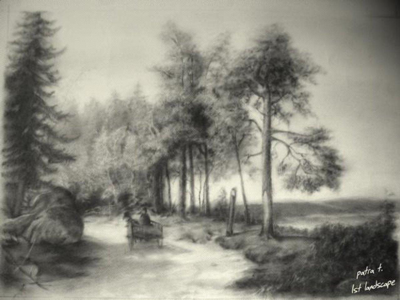 1280x960 Charcoal Landscape Sketches Drawn Landscape Famous Landscape
