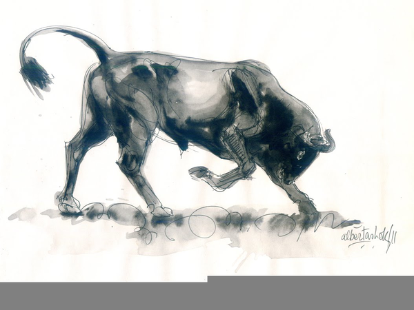 600x450 Charging Bull Drawing Free Images