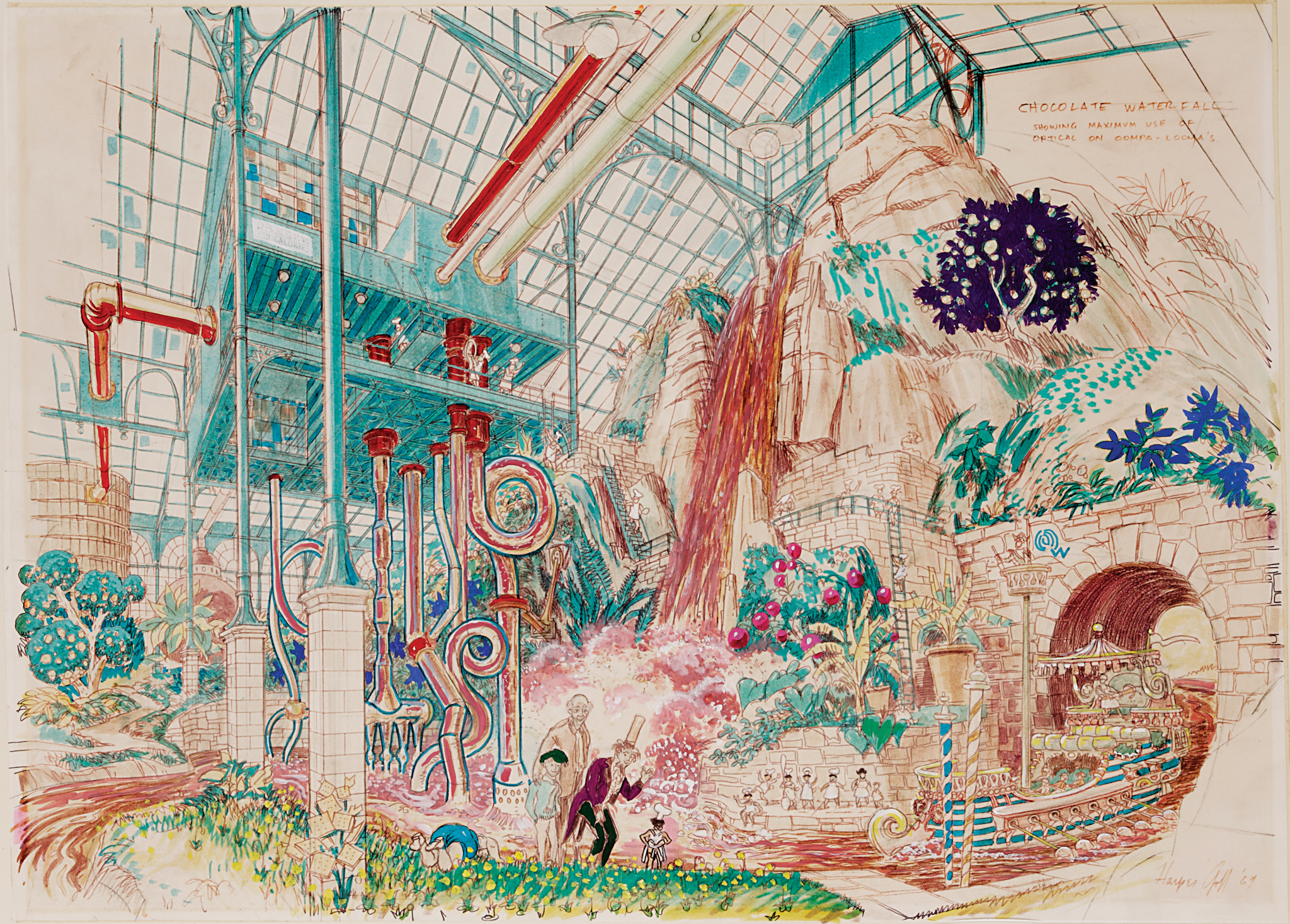 2048x1466 Concept Drawing Of Chocolate Room From Willy Wonka And