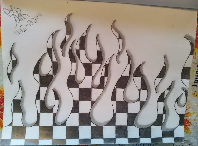 752x556 Checkered Flag Flames Tattoo Design By
