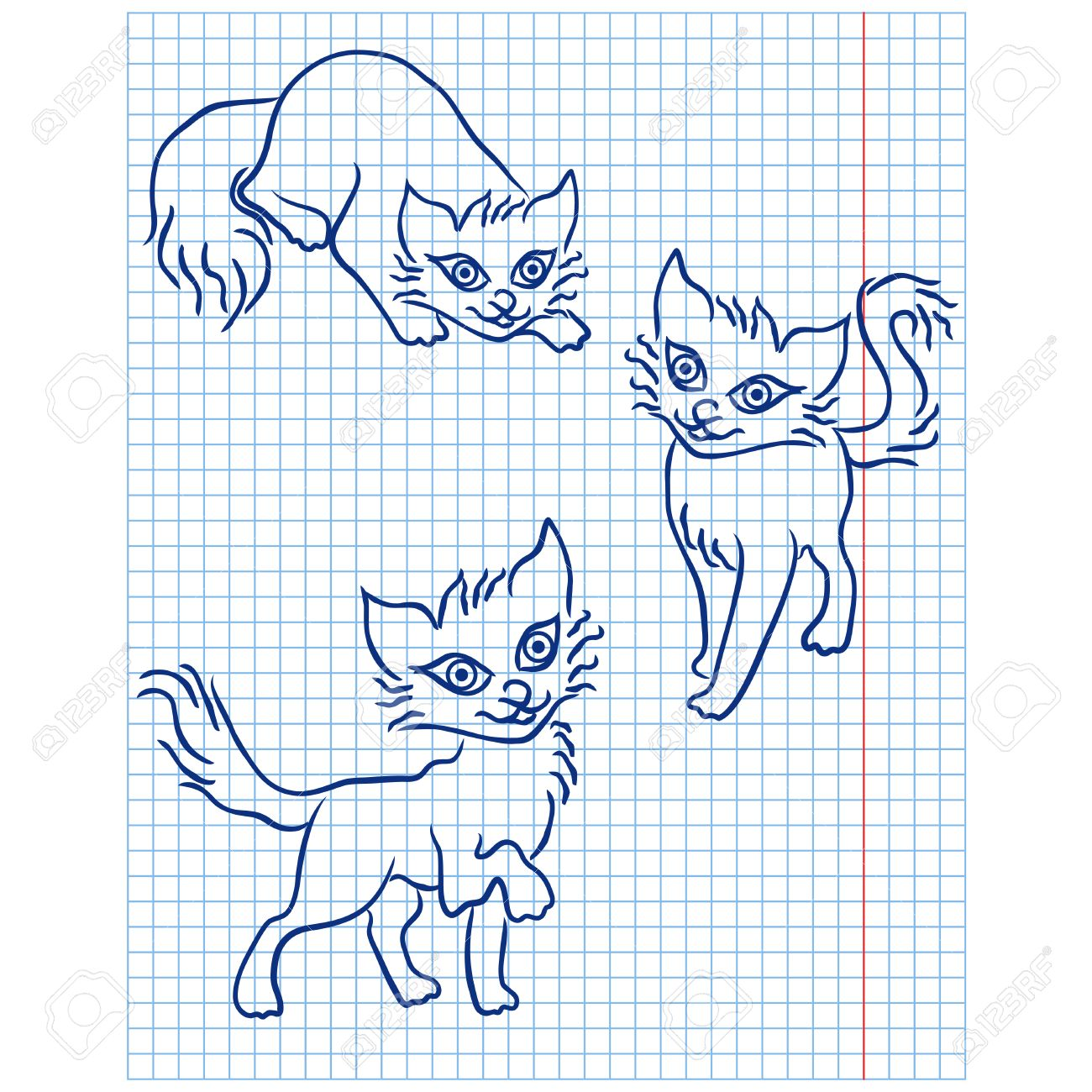 1300x1300 Cute Three Blue Cats Drawing On A Checkered Sheet, Vector