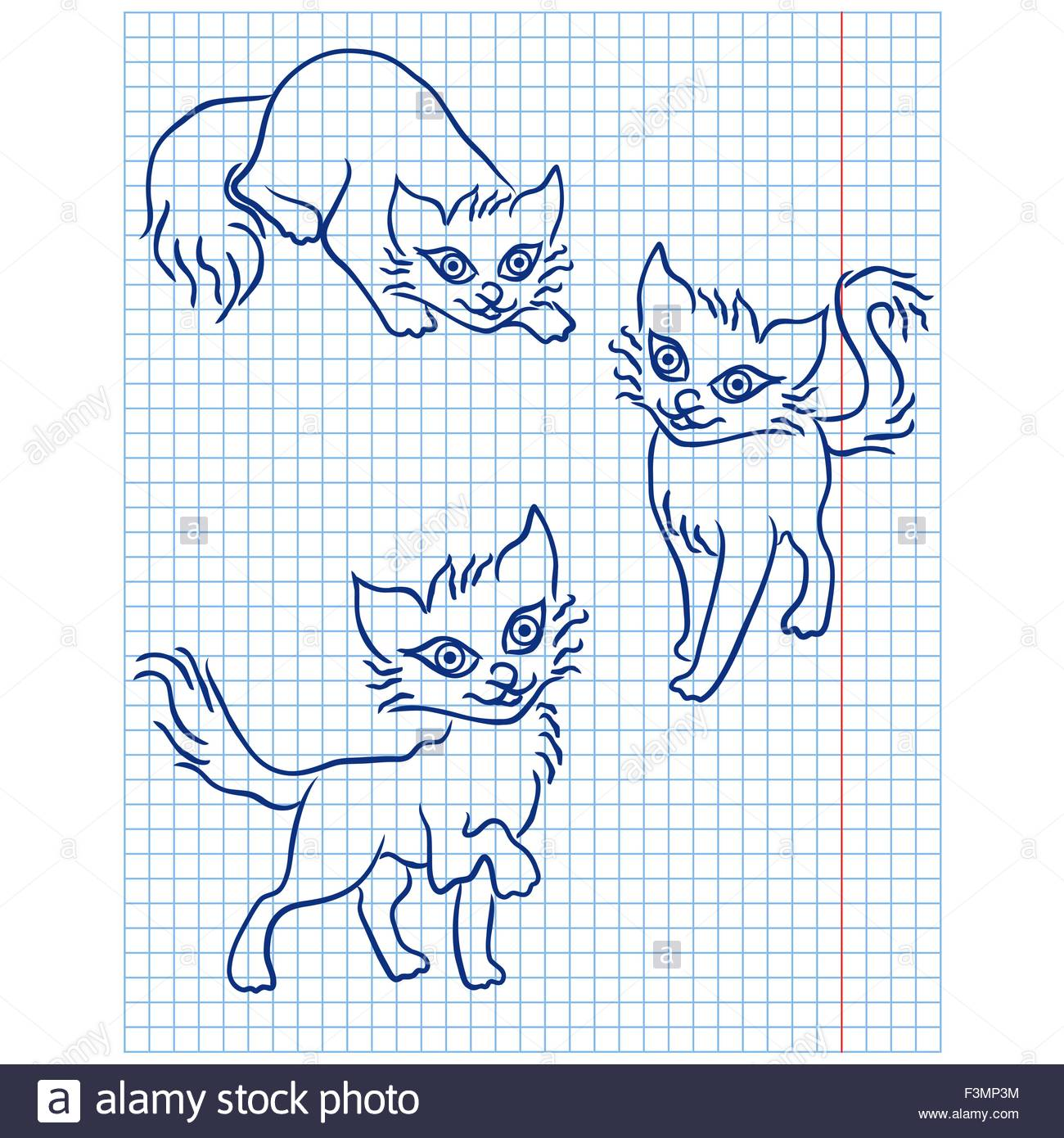 1300x1390 Cute Three Blue Cats Drawing On A Checkered Sheet, Vector Stock