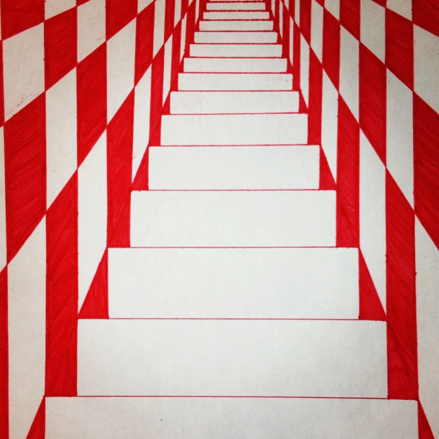 640x640 Trippy Checkered Stairwell. Doodle. Drawing. Sketch. Red