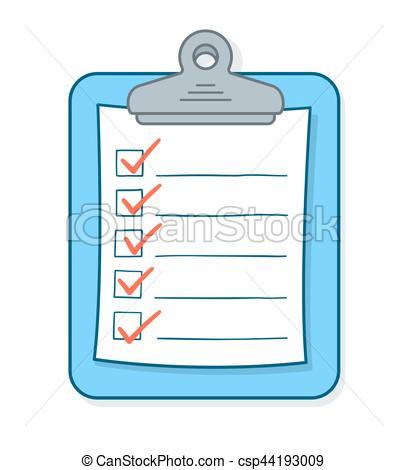 408x470 Cartoon Checklist With Check Marks On Clipboard. Cartoon Vector