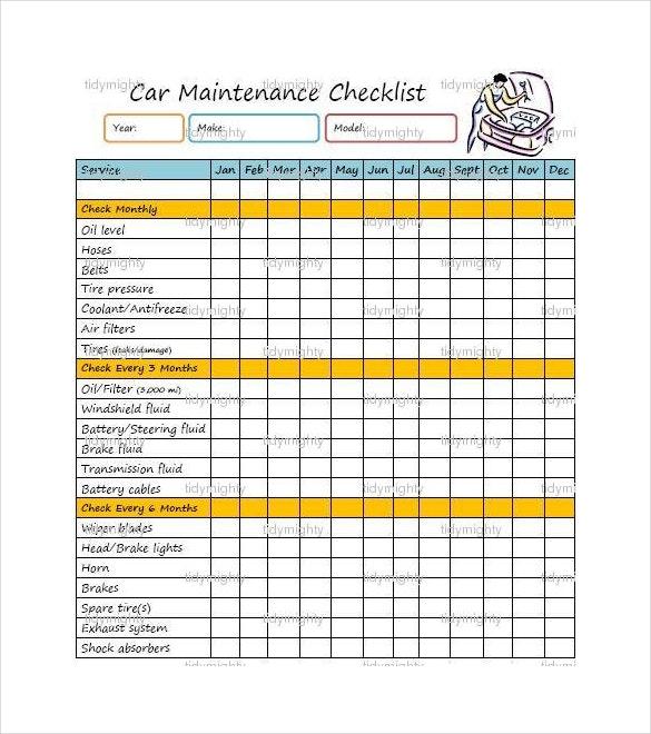 585x660 Maintenance Checklist Template Present Drawing
