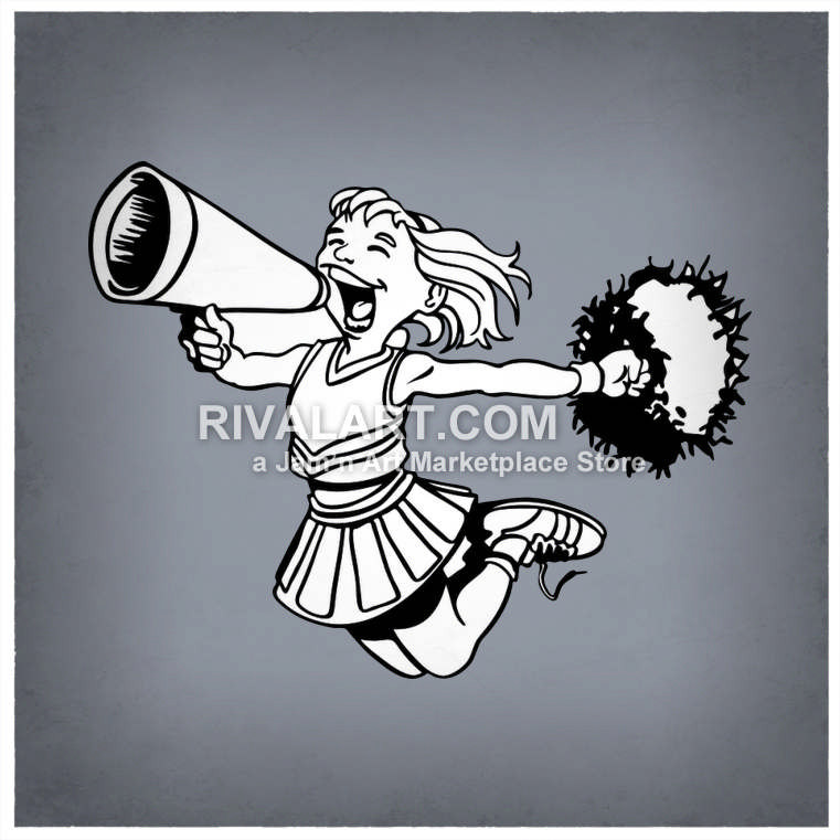 761x761 Black White Cheerleading Cheerleader Megaphone Girls Pom Poms