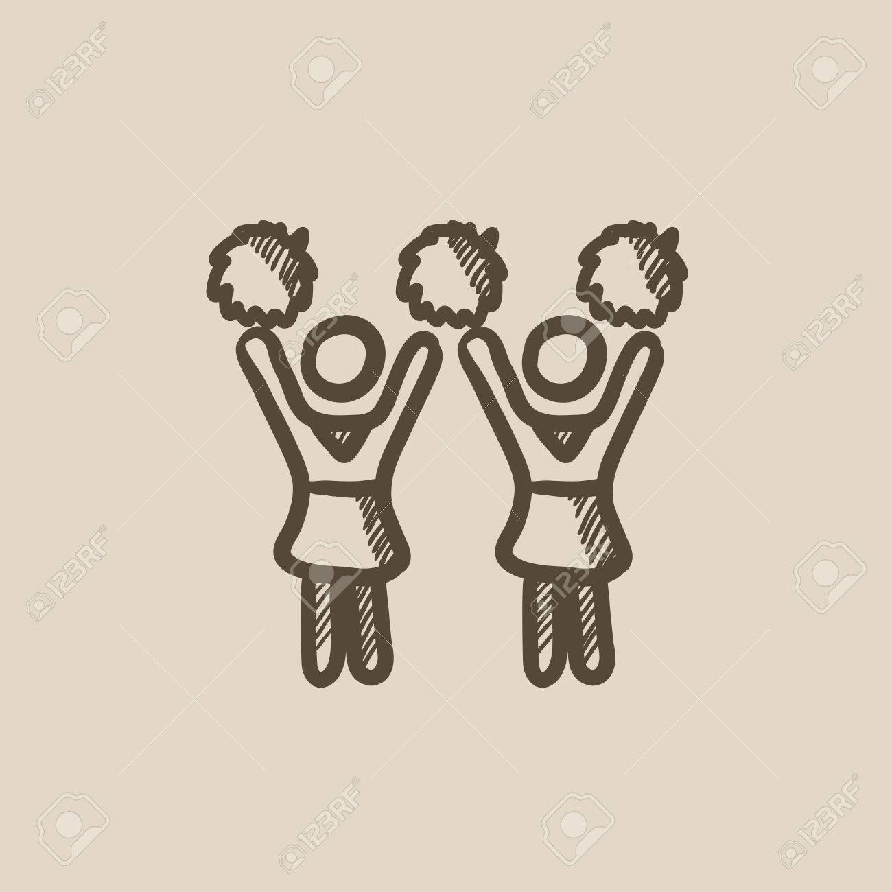 1300x1300 Cheerleaders Vector Sketch Icon Isolated On Background. Hand