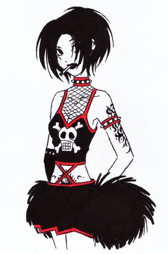 331x500 Goth Cheerleader By Doodlekitten