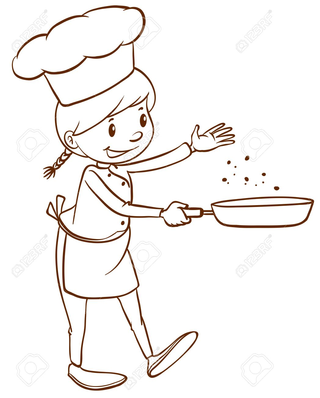 1048x1300 A Plain Drawing Of A Female Chef On A White Background Royalty