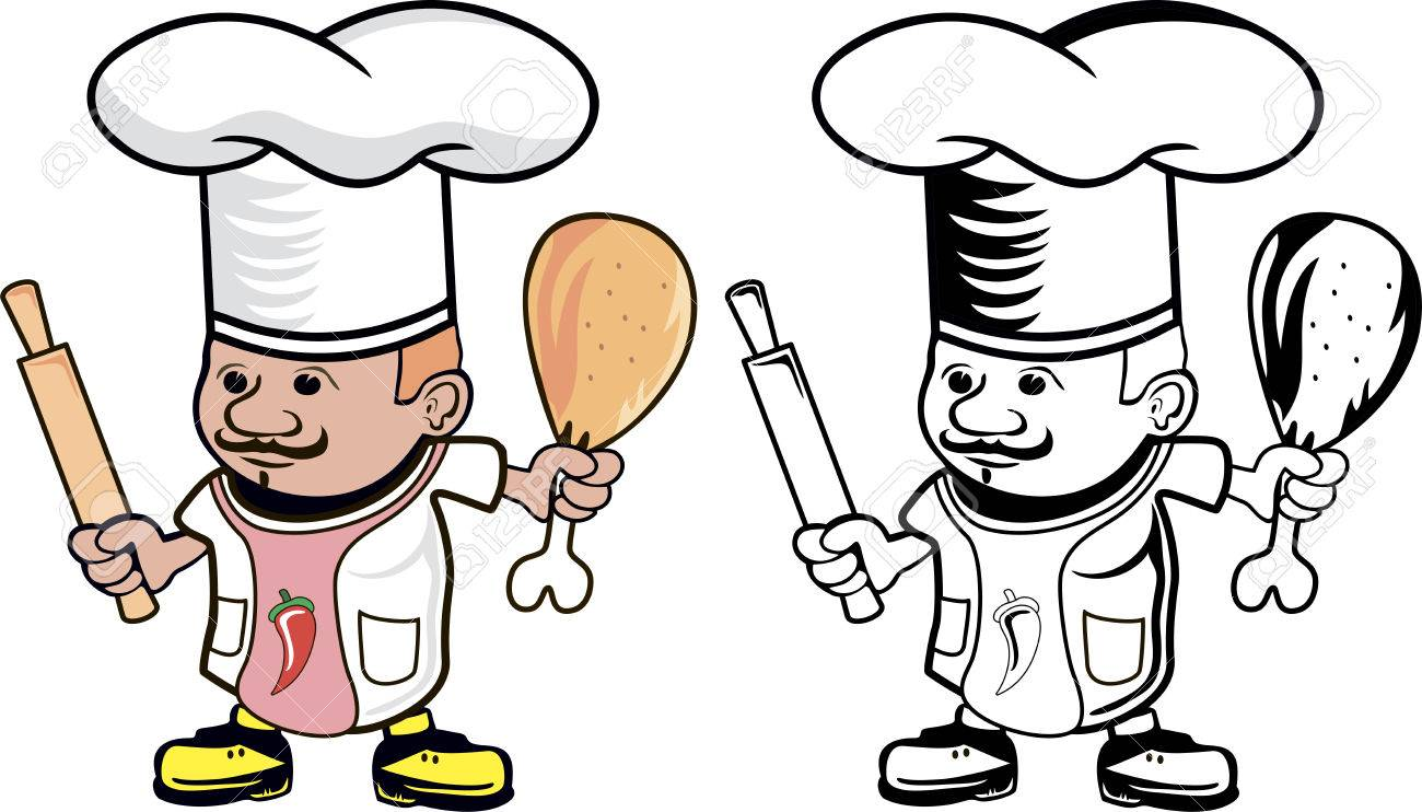 1300x742 Cartoon Drawing Of A Chef Cook With Rolling Pin And Chicken Leg