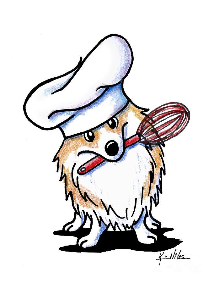 682x900 Corgi Chef Drawing By Kim Niles