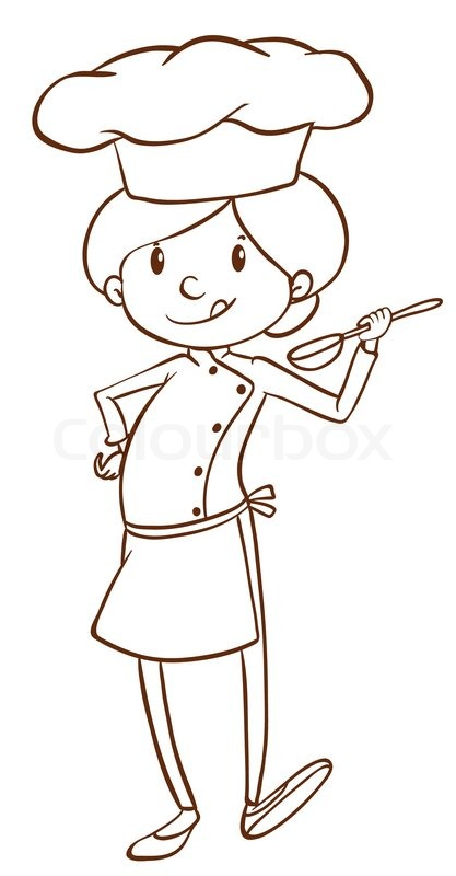 417x800 Illustration Of A Simple Sketch Of A Female Chef On A White