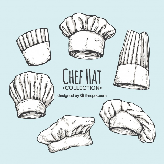 626x626 Pack Of Chef's Hand Drawn Hats Vector Free Download