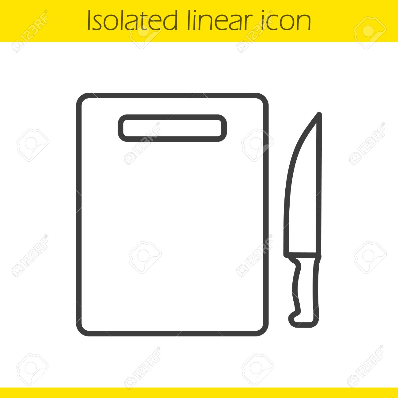 1300x1300 Cutting Board With Knife Linear Icon. Cooking Instruments. Chef'S