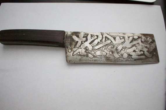 570x380 Items Similar To Hand Forged Acid Etched Kitchen Knife On Etsy