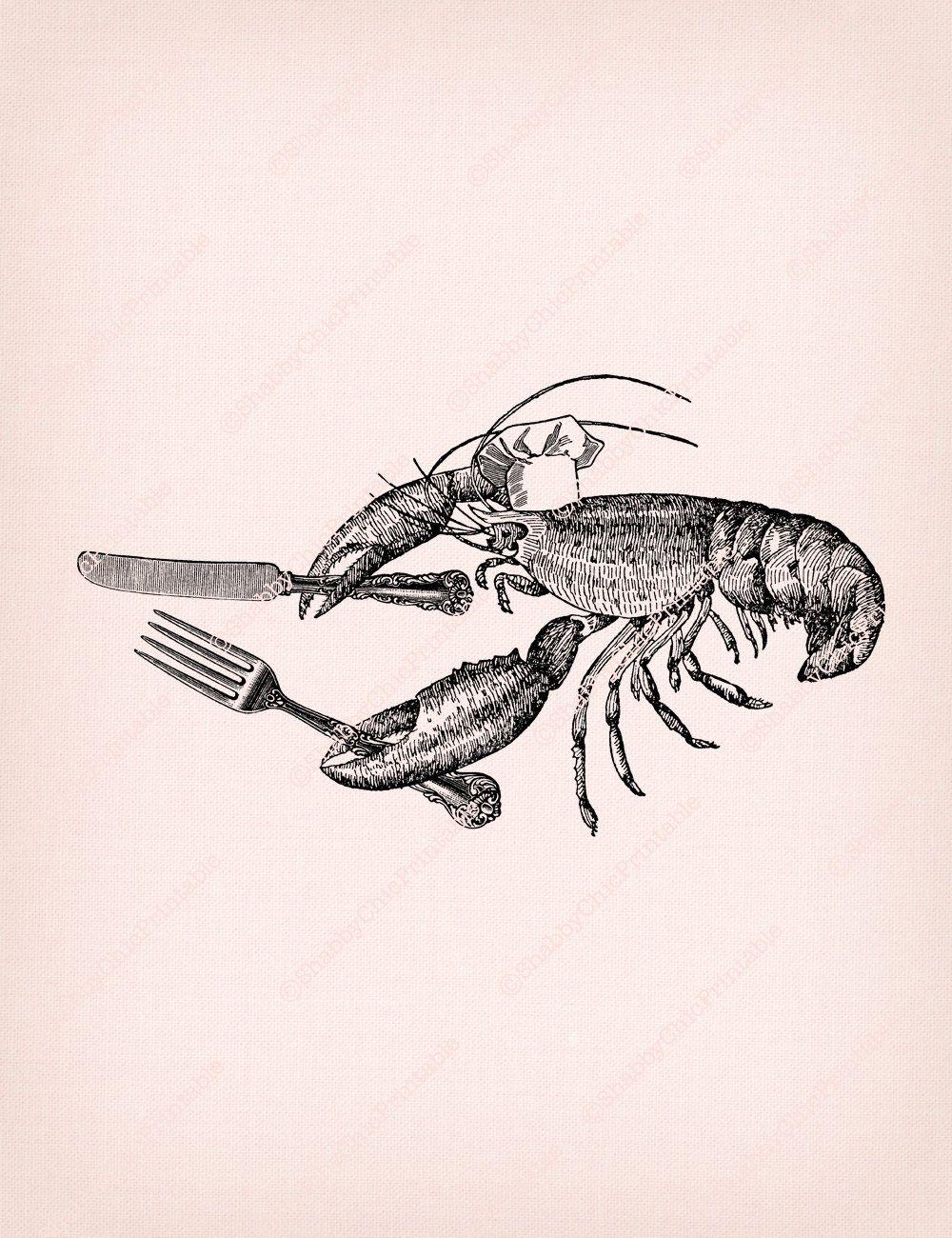 1000x1300 Vintage Collage Illustration Lobster Chef Crayfish Fork Knife