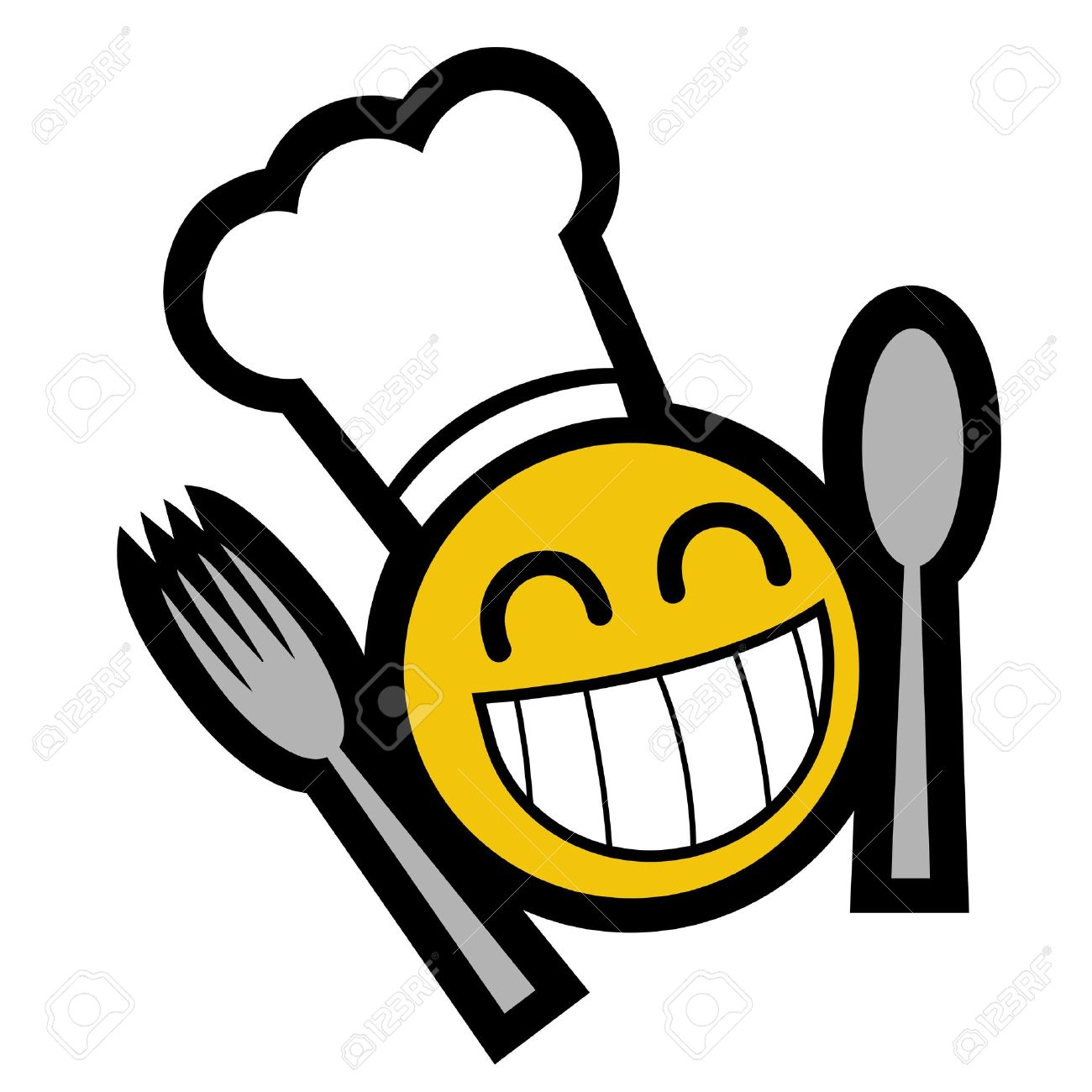 1300x1300 Drawing Smiley Face With Eating Utensils Royalty Free Cliparts