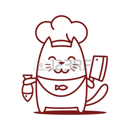 450x450 Character Chef In A Chef's Hat Line Art. Cat Female Stands Smiling